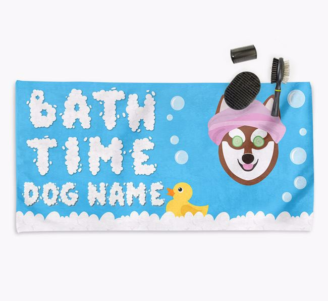 'Bubble Bath Time' Personalised Dog Towel for your Alaskan Klee Kai