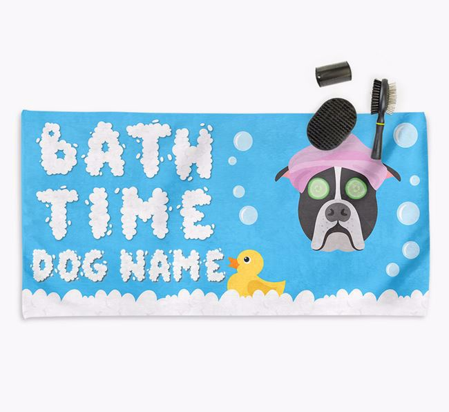 'Bubble Bath Time' Personalised Dog Towel for your American Bulldog