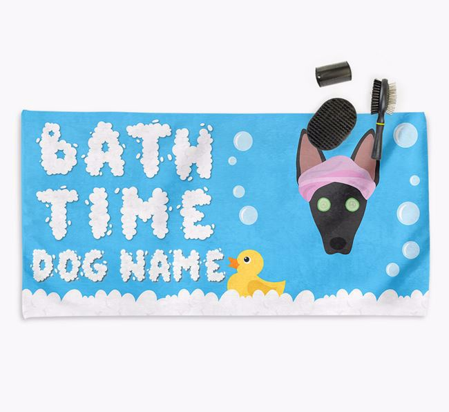 'Bubble Bath Time' Personalised Dog Towel for your American Hairless