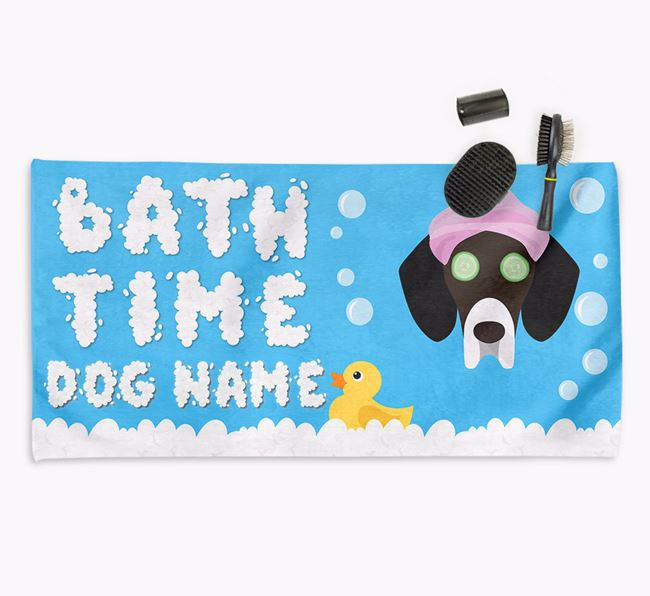 'Bubble Bath Time' Personalised Dog Towel for your Bassador