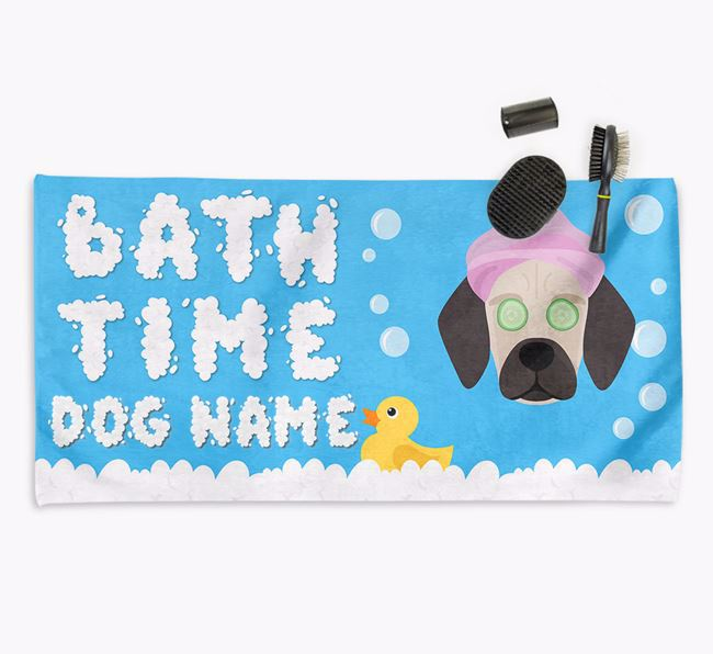 'Bubble Bath Time' Personalised Dog Towel for your Bassugg