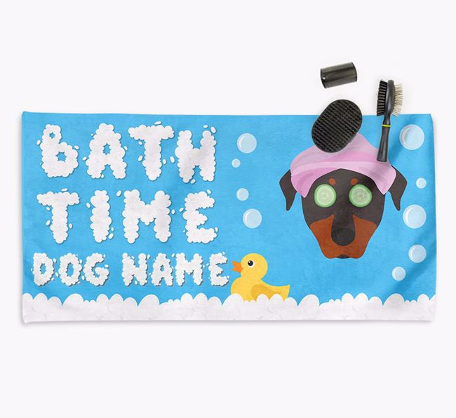 'Bubble Bath Time' Personalised Dog Towel for your Beauceron