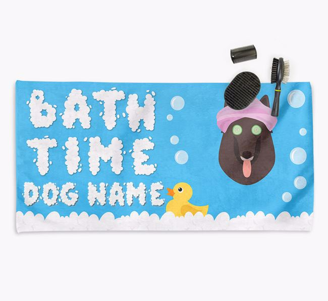 'Bubble Bath Time' Personalised Dog Towel for your Belgian Shepherd