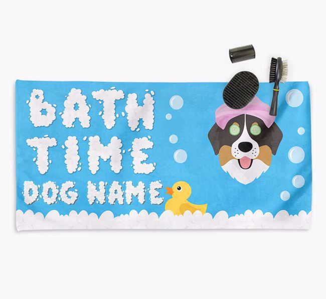 'Bubble Bath Time' Personalised Dog Towel for your Bernese