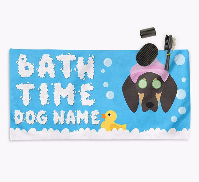 'Bubble Bath Time' Personalised Dog Towel for your Coonhound