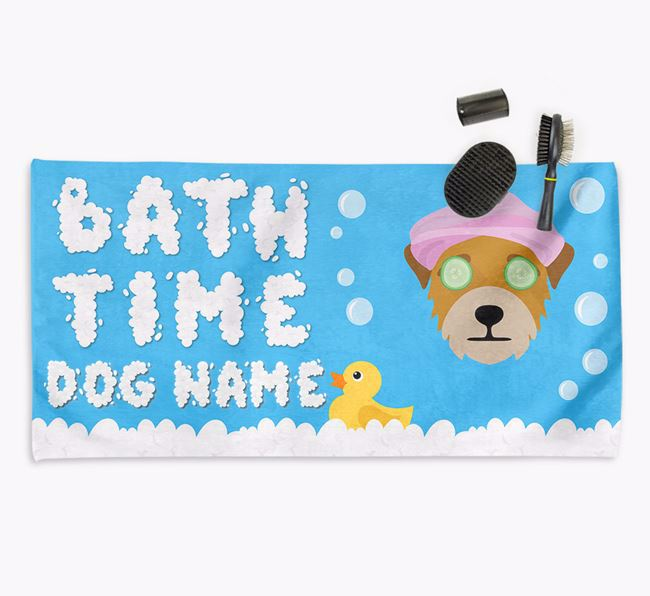 'Bubble Bath Time' Personalised Dog Towel for your Border Terrier