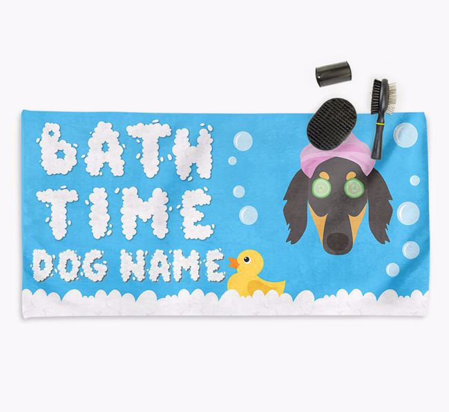 'Bubble Bath Time' Personalised Dog Towel for your Borzoi