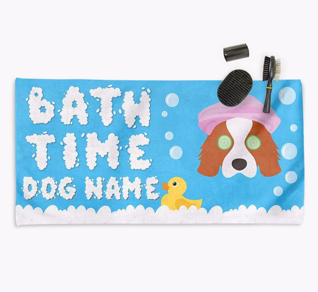'Bubble Bath Time' Personalised Dog Towel for your Cavalier King Charles
