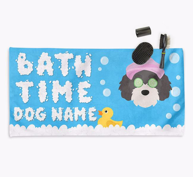 'Bubble Bath Time' Personalised Dog Towel for your Cavapoochon