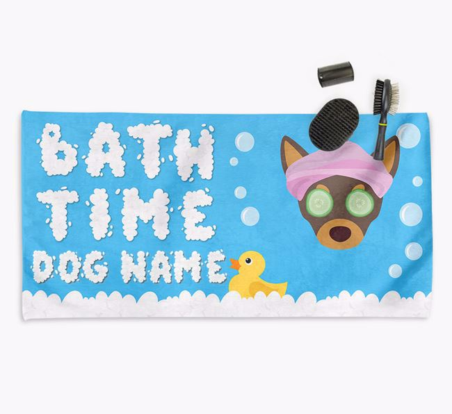 'Bubble Bath Time' Personalised Dog Towel for your Chihuahua