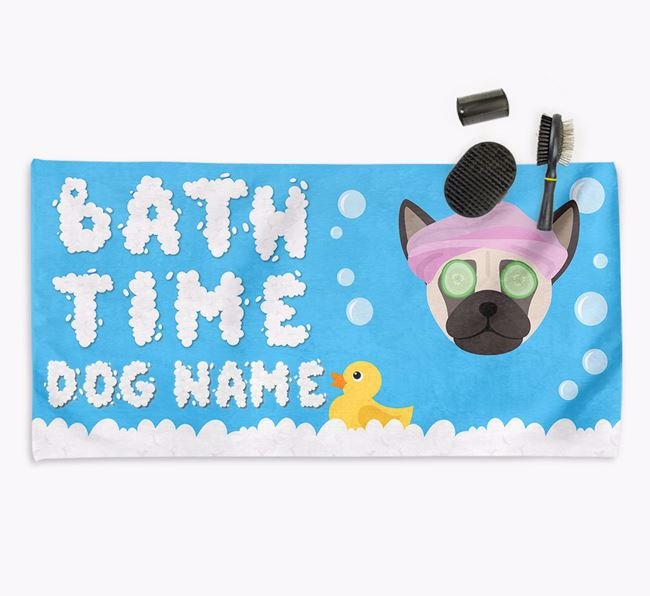 'Bubble Bath Time' Personalised Dog Towel for your Chug