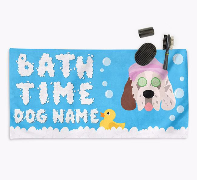 'Bubble Bath Time' Personalised Dog Towel for your Clumber Spaniel