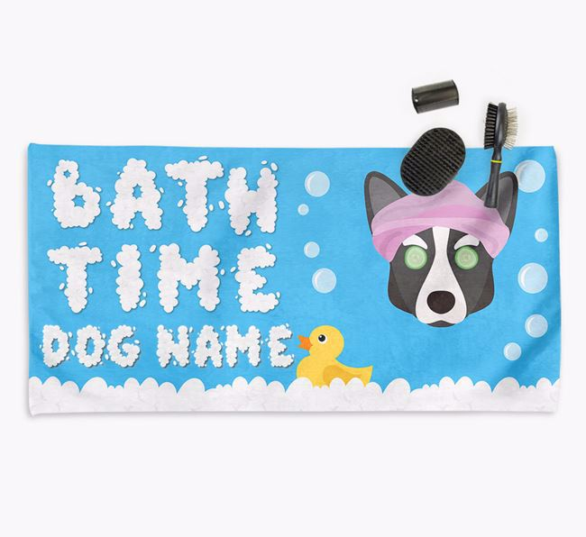 'Bubble Bath Time' Personalised Dog Towel for your Corgi