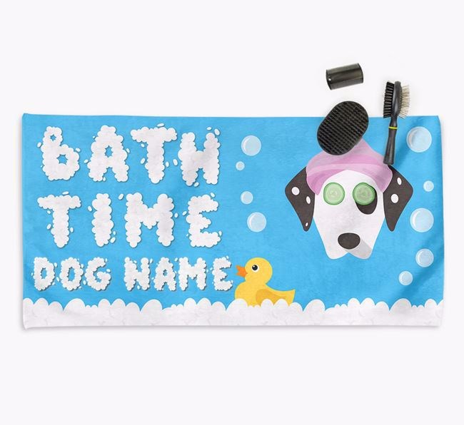 'Bubble Bath Time' Personalised Dog Towel for your Dalmatian