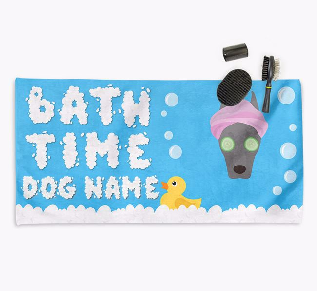 'Bubble Bath Time' Personalised Dog Towel for your Dobermann