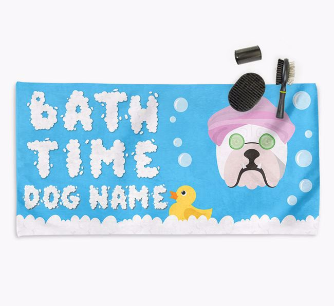 'Bubble Bath Time' Personalised Dog Towel for your Bulldog