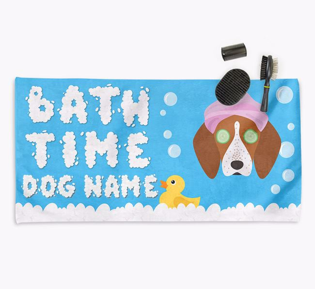 'Bubble Bath Time' Personalised Dog Towel for your English Coonhound