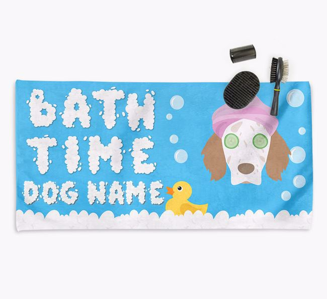 'Bubble Bath Time' Personalised Dog Towel for your English Setter