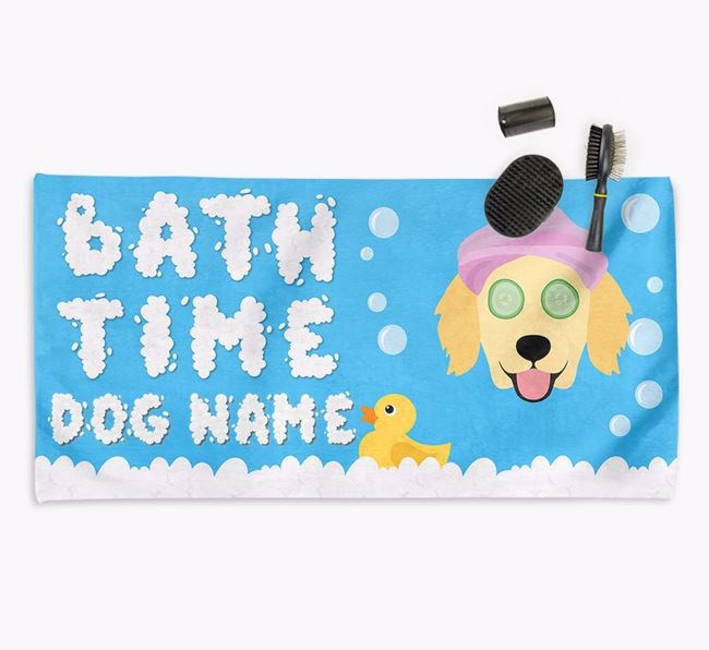 'Bubble Bath Time' Personalised Dog Towel for your Flatcoat