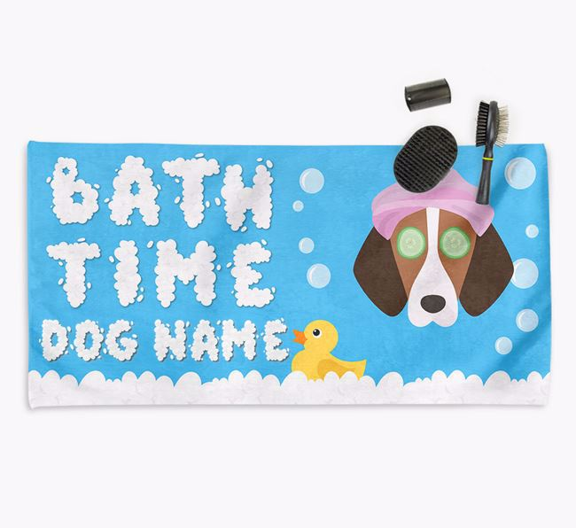 'Bubble Bath Time' Personalised Dog Towel for your Foxhound