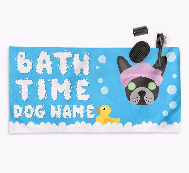 'Bubble Bath Time' Personalised Dog Towel for your Frenchie