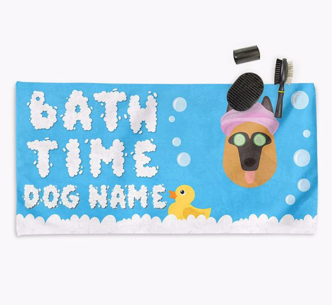 'Bubble Bath Time' Personalised Dog Towel for your German Shepherd