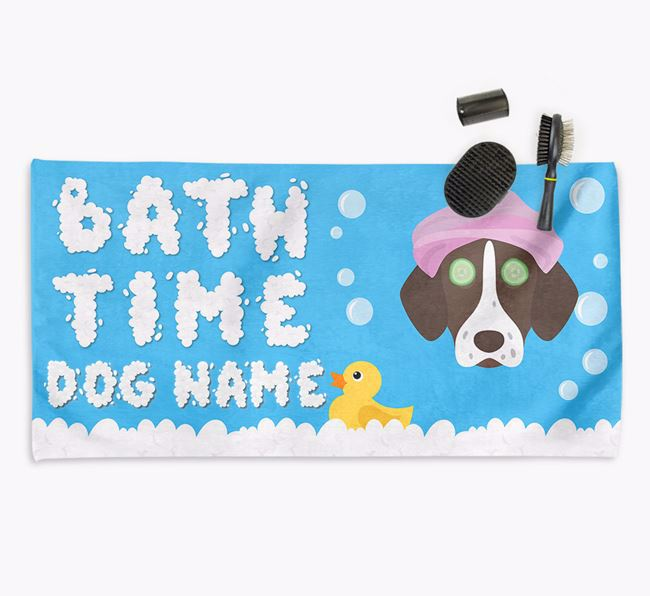 'Bubble Bath Time' Personalised Dog Towel for your Shorthaired Pointer