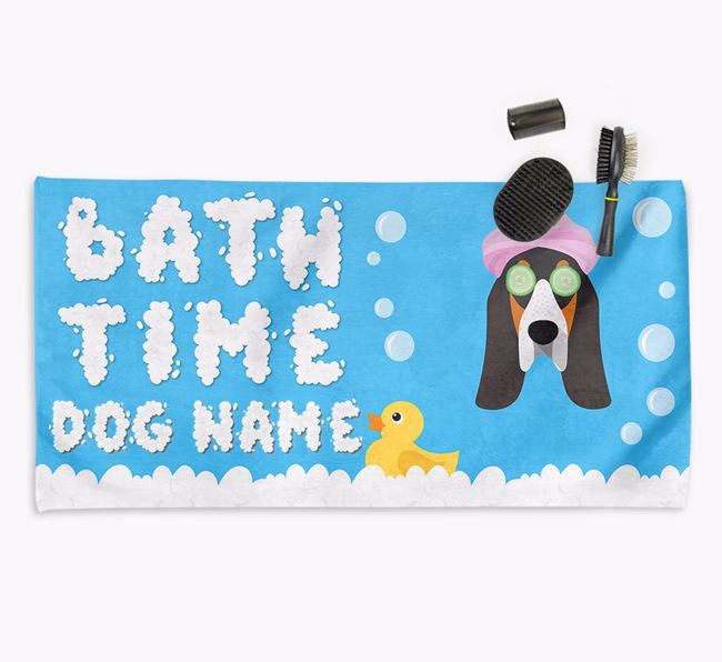 'Bubble Bath Time' Personalised Dog Towel for your Grand Bleu