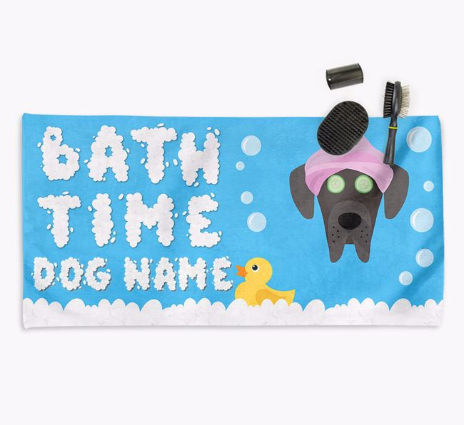 'Bubble Bath Time' Personalised Dog Towel for your Great Dane