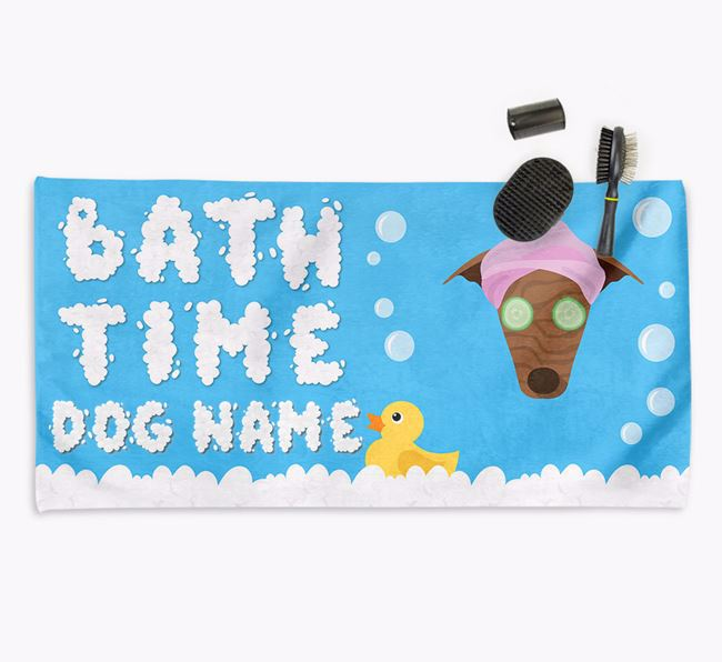 'Bubble Bath Time' Personalised Dog Towel for your Greyhound