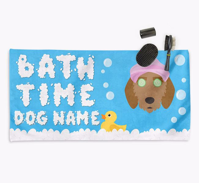 'Bubble Bath Time' Personalised Dog Towel for your Griffon Fauve