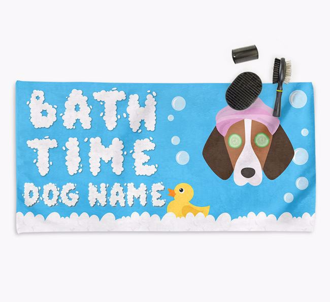 'Bubble Bath Time' Personalised Dog Towel for your Harrier