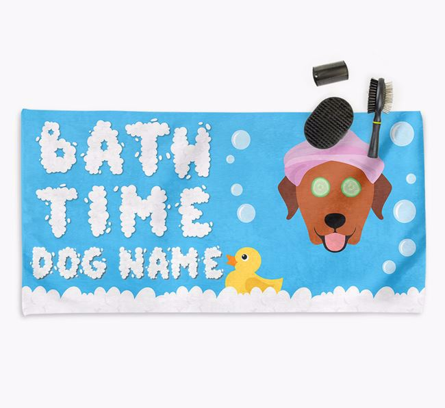 'Bubble Bath Time' Personalised Dog Towel for your Labrador