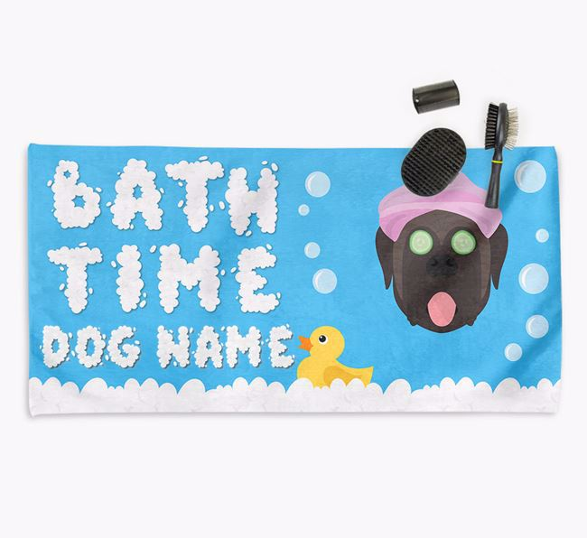 'Bubble Bath Time' Personalised Dog Towel for your Mastiff