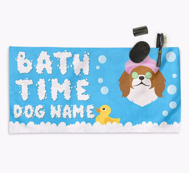 'Bubble Bath Time' Personalised Dog Towel for your Pekingese