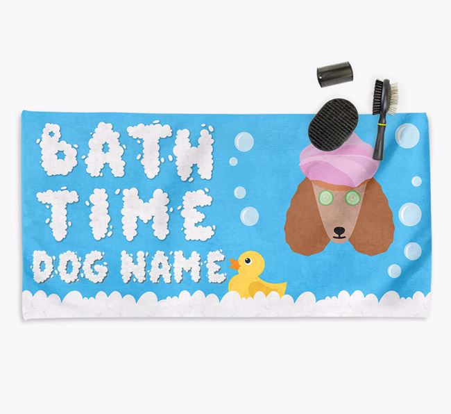 'Bubble Bath Time' Personalised Dog Towel for your Poodle