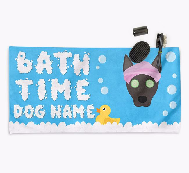 'Bubble Bath Time' Personalised Dog Towel for your Podengo