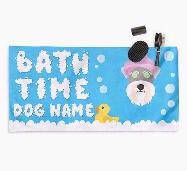 'Bubble Bath Time' Personalised Dog Towel for your Schnauzer
