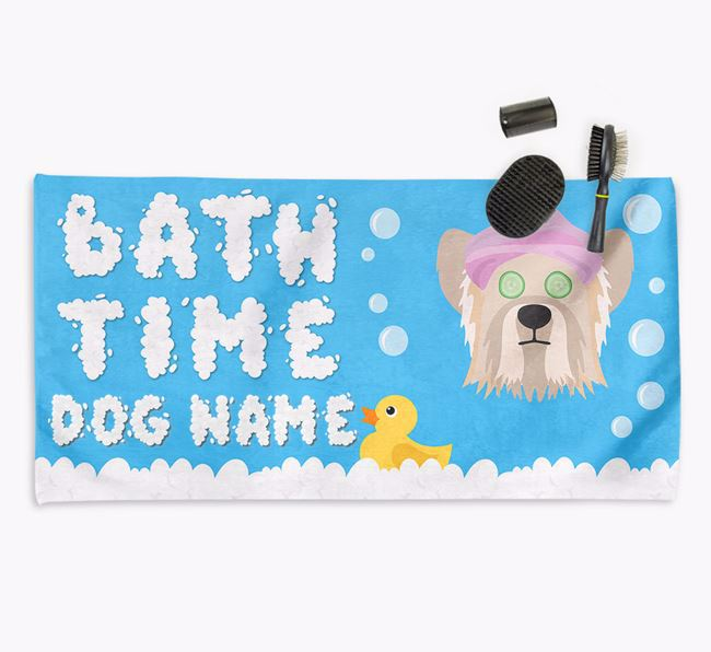 'Bubble Bath Time' Personalised Dog Towel for your Skye Terrier