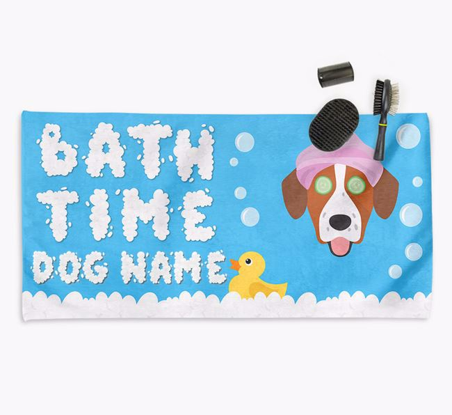 'Bubble Bath Time' Personalised Dog Towel for your Springador