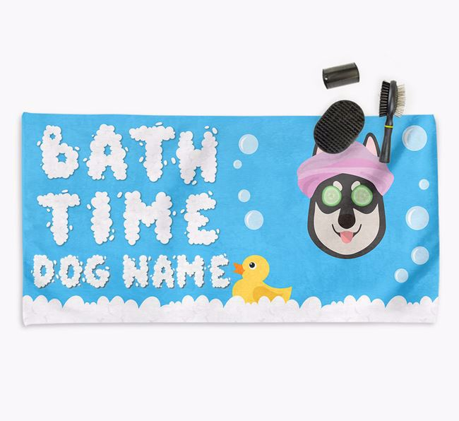'Bubble Bath Time' Personalised Dog Towel for your Tamaskan