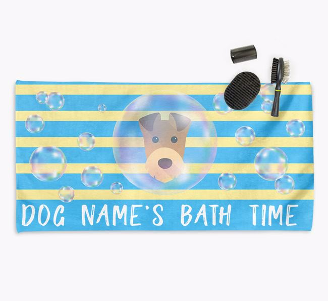 'Bathtime' Personalized Towel for your Airedale