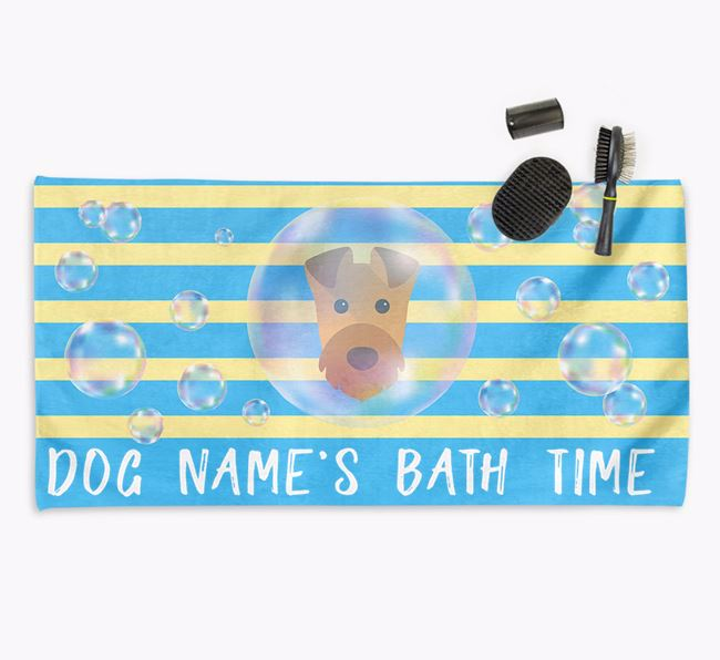 'Bathtime' Personalised Towel for your Airedale