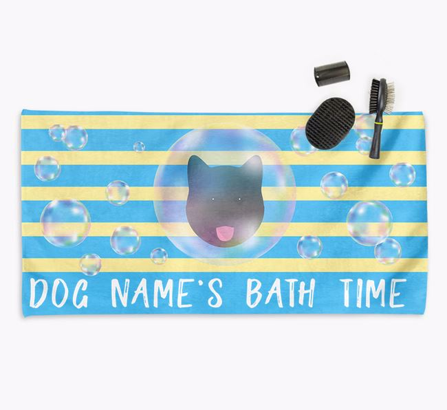'Bathtime' Personalized Towel for your Akita