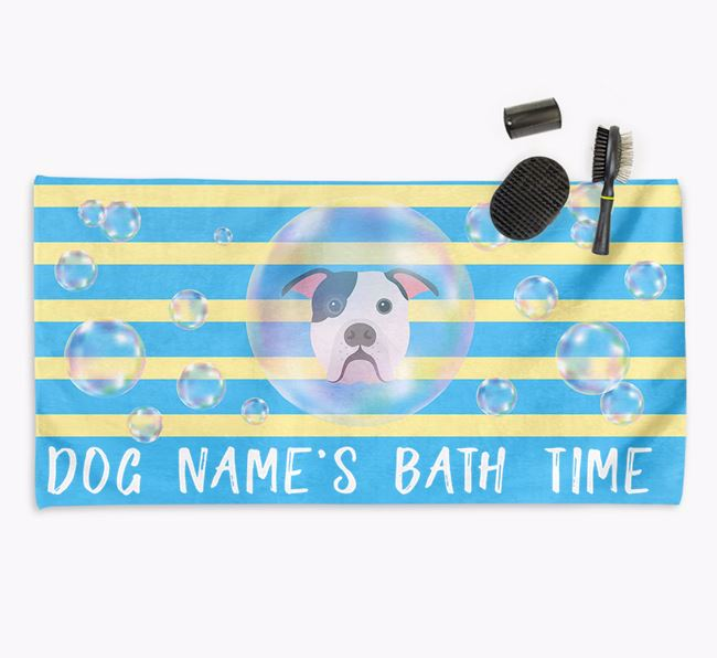 'Bathtime' Personalized Towel for your American Bulldog