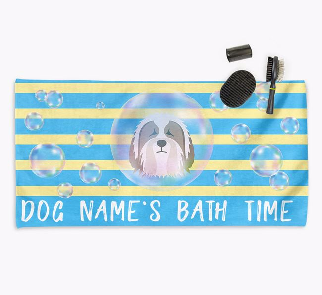 'Bathtime' Personalized Towel for your Bearded Collie