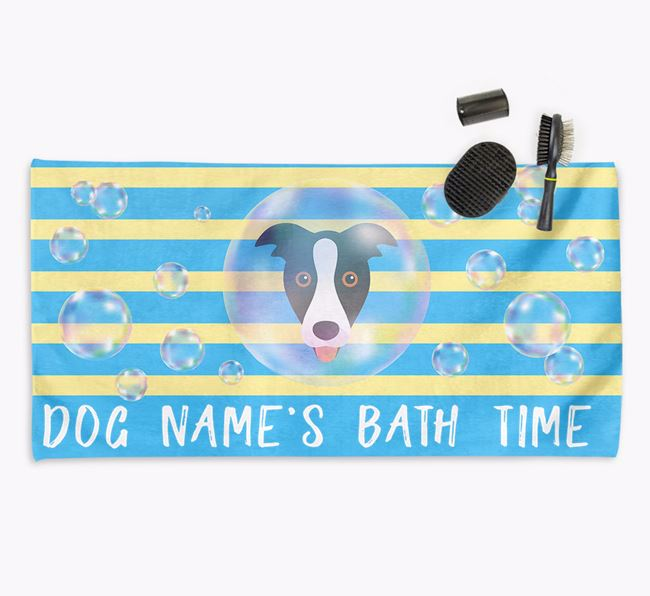 'Bathtime' Personalized Towel for your Border Collie