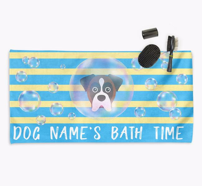 'Bathtime' Personalized Towel for your Boxer