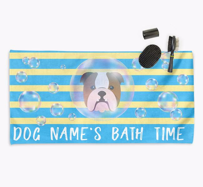 'Bathtime' Personalized Towel for your Bulldog