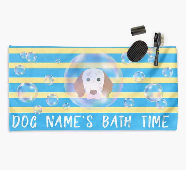 'Bathtime' Personalized Towel for your English Setter